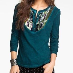 Free People Tiger Eyes Sequin Henley Teal Top